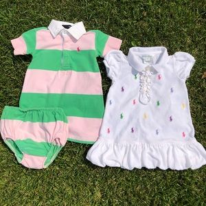 RALPH LAUREN Classic Embroidered Polo Dresses- 9mo